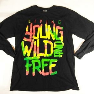 Living Young Wild and Free Graphic Tee Shirt SZ M